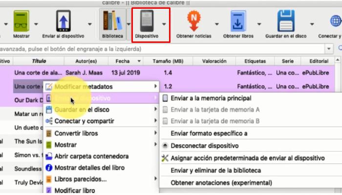 libros a Kindle a través de Calibre por computadora