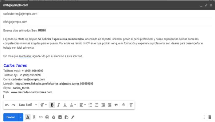 cómo mandar un correo para pedir trabajo