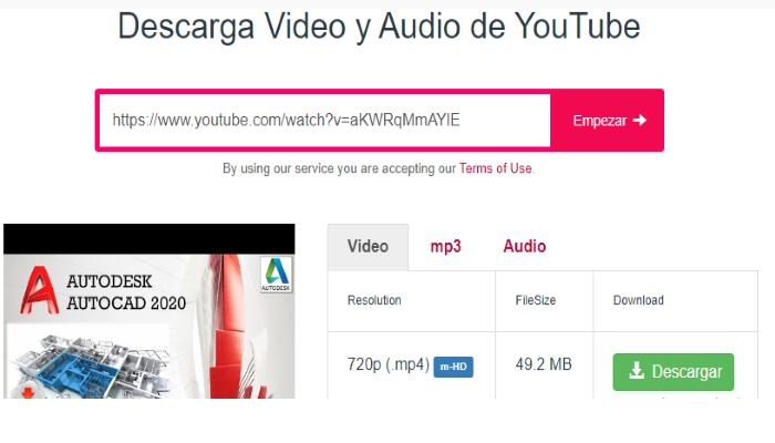 Descarga video y audio de YouTube ss